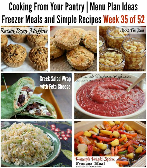 Cooking From Your Pantry  Menu Plan Ideas, Freezer Meals and Simple Recipes Week 35 of 52