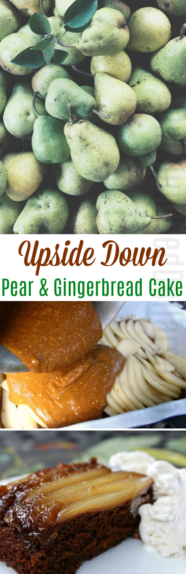 Upside Down Pear-Gingerbread Cake