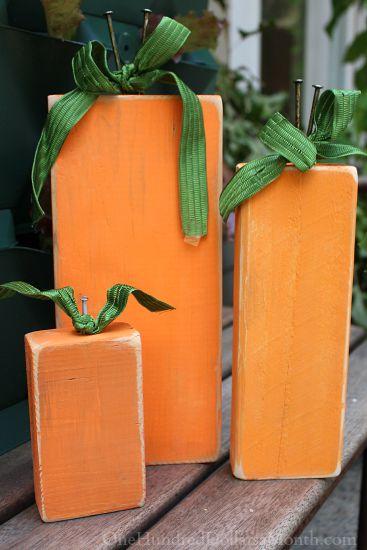 Fall Craft Idea – Painted Scrap Wood Pumpkin