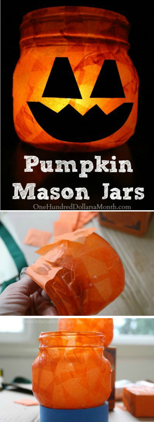 Halloween Craft – Pumpkin Mason Jars