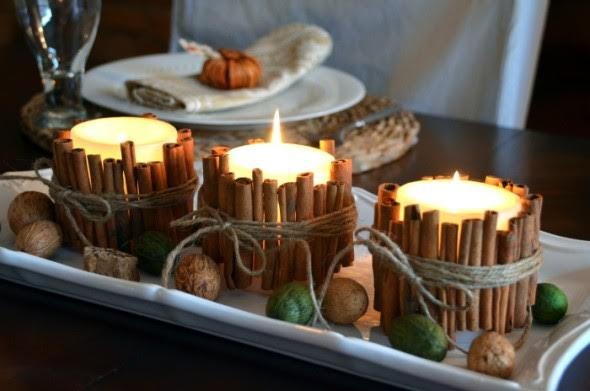 Easy Winter Craft: Cinnamon Stick Candle Holders