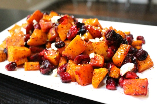 Roasted Butternut Squash w/ Feta and Cranberries