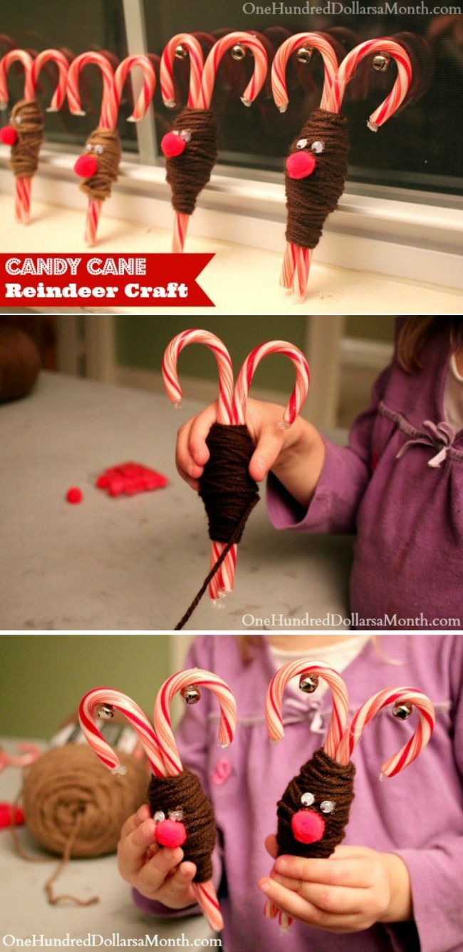 Simple Holiday Kids Crafts – Candy Cane Reindeer