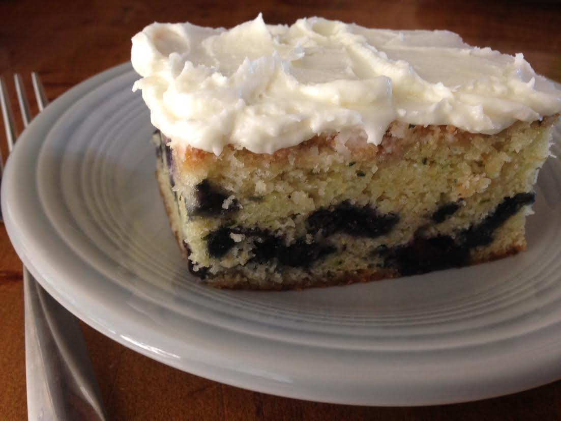 Blueberry Zucchini Brunch Cake with Lemony Frosting