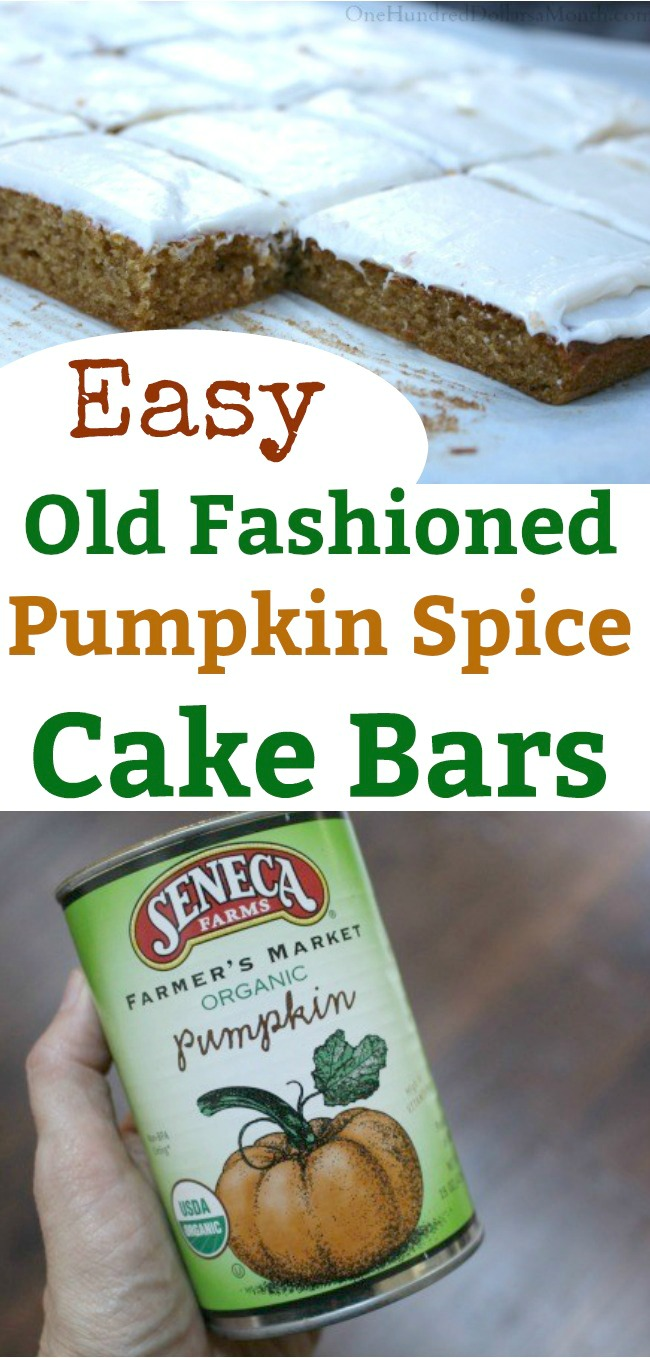 Old Fashioned Pumpkin Spice Cake Bars