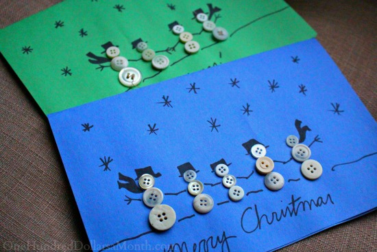 Easy Kids Christmas Crafts — Button Snowman Family