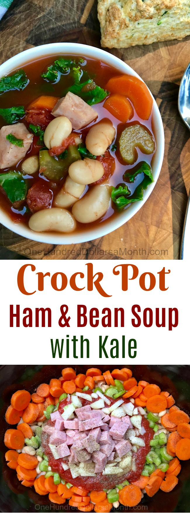 Slow Cooker Ham and Bean Soup with Kale