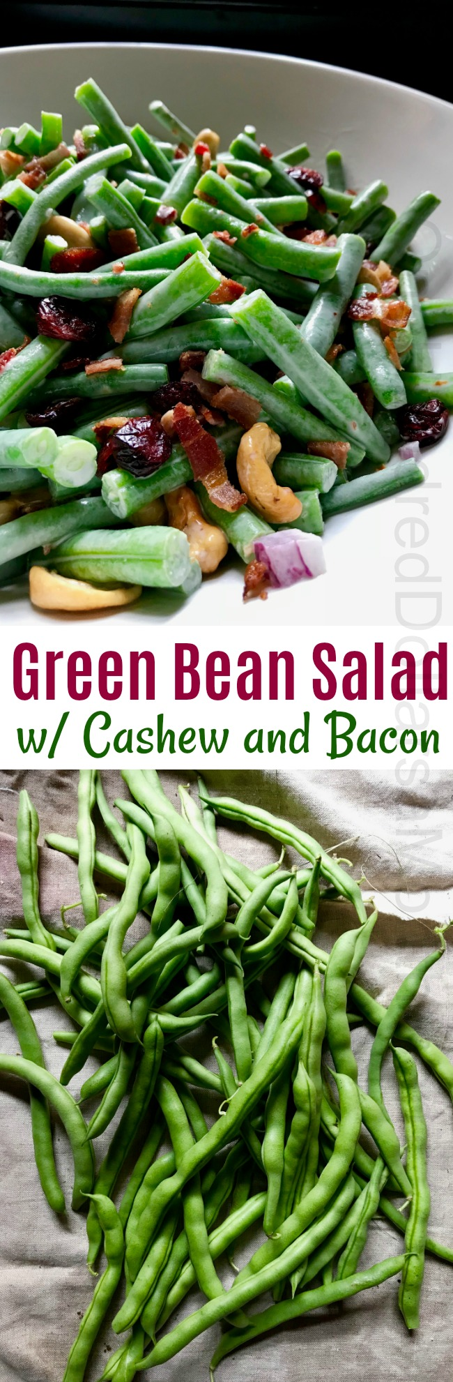 Green Bean Salad with Cashew and Bacon Topping