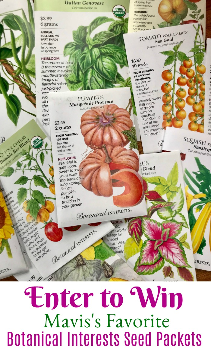 Giveaway – Enter to Win Mavis's Favorite Seed Packets from Botanical Interests
