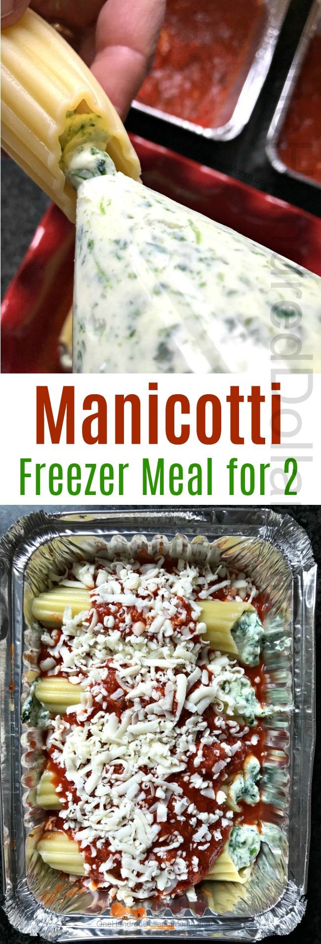 Manicotti Freezer Meal Recipe for 2