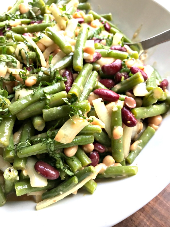 Three Bean Salad with a Creamy Balsamic Dressing