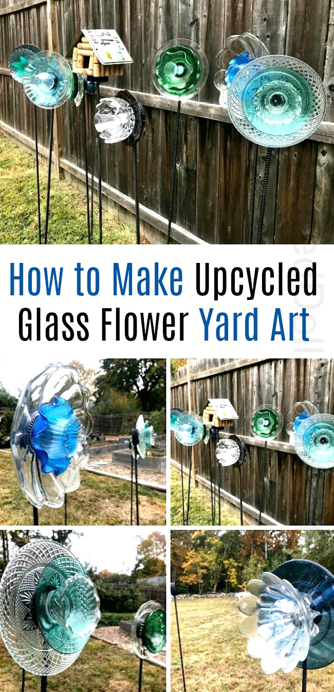How to Make Upcycled Glass Flower Yard Art