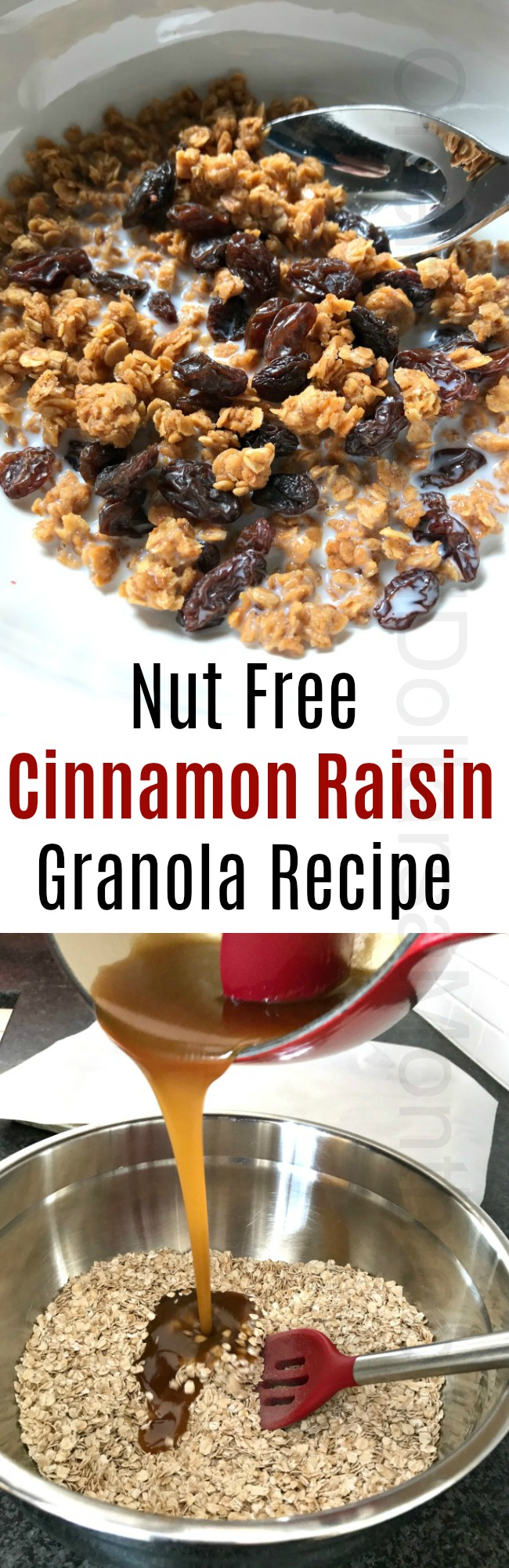 Simple {Nut Free} Cinnamon Raisin Granola Recipe