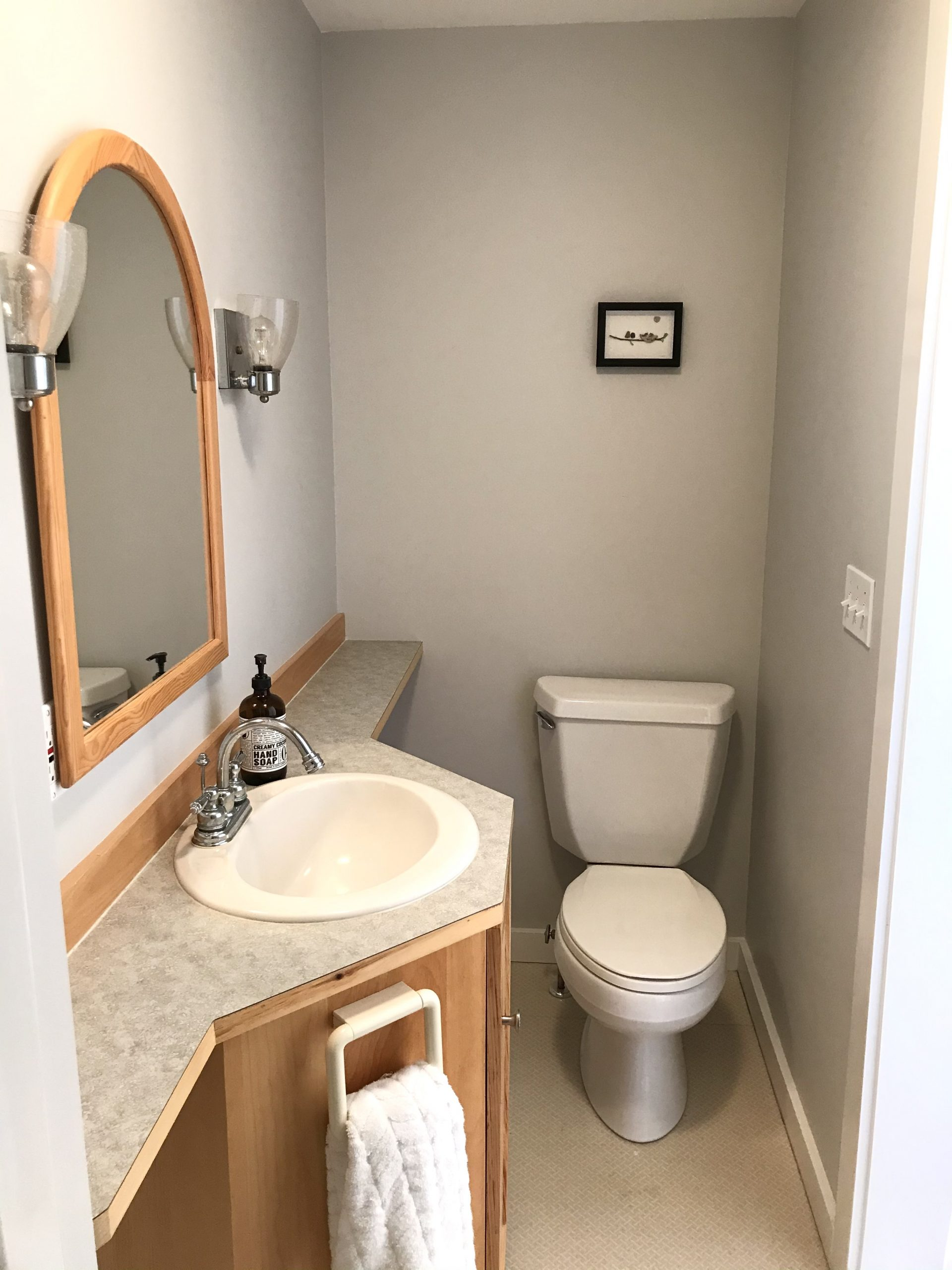 The Small and Awkward Bathroom with the Banjo Countertop – Before and After Photos