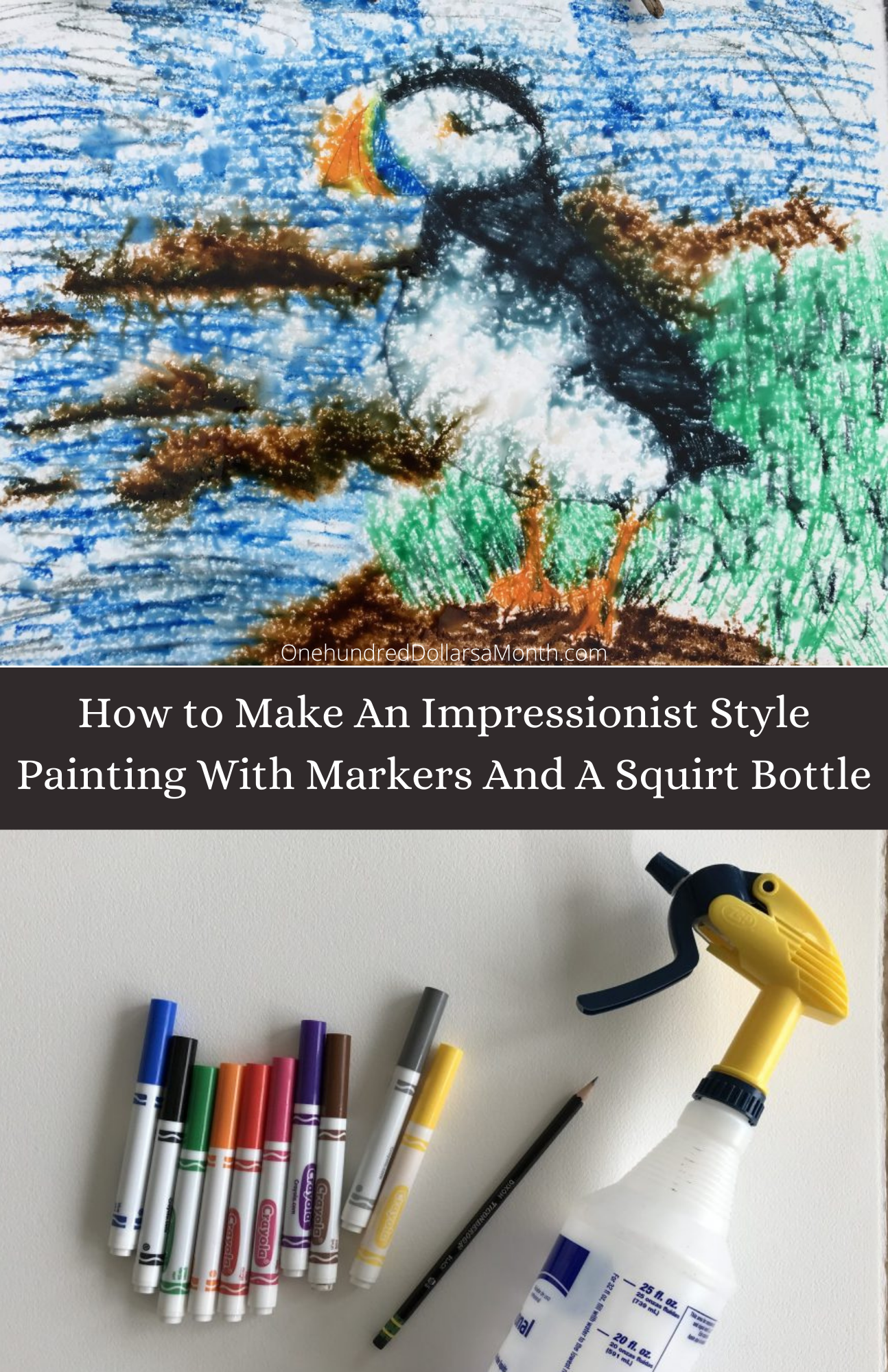 How to Make An Impressionist Style Painting With Markers And A Squirt Bottle