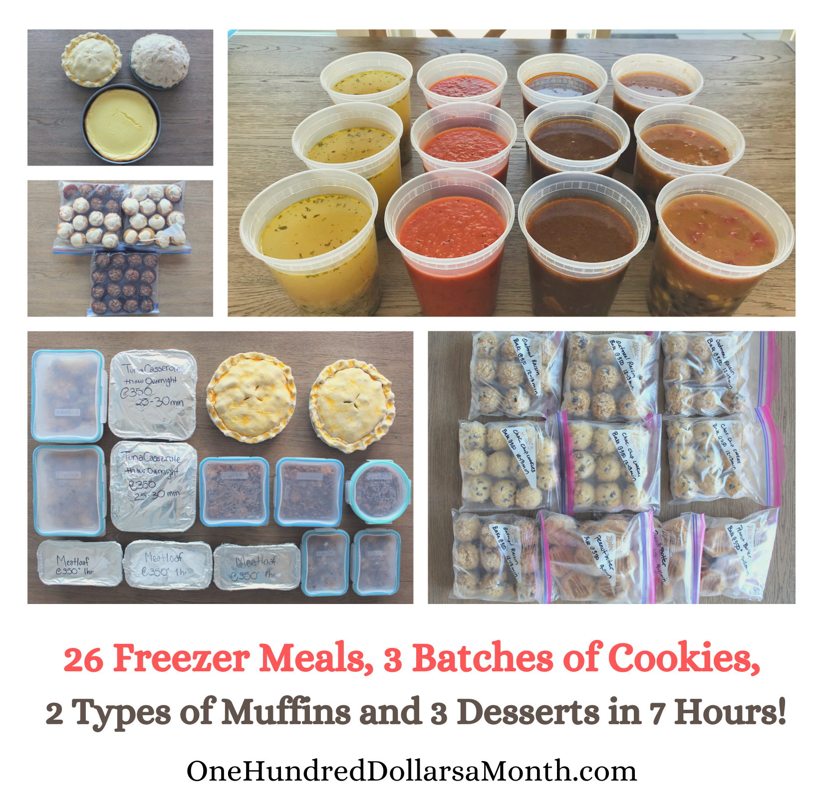 26 Freezer Meals Plus 3 Batches of Cookies, 2 Types of Muffins and 3 Desserts in 7 Hours